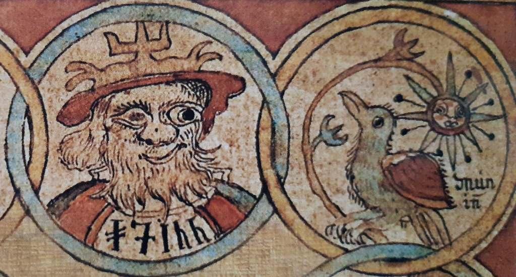 Odin, zeul suprem al Panteonului scandinav, și corbul său, Munin
